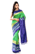 Green & Blue pochampally ikkat saree