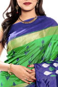 Ikkat silk saree online in green & blue color