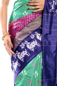 Turquoise Blue Pochampally silk saree