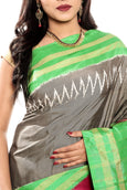 ikkat silk saree online in grey color