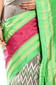 light green border pochampally silk sarees