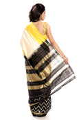 ikkat saree in white & yellow color