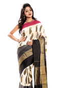 Off White Pochampally Silk Saree with Pink & black border