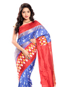 Ikkat Silk Saree in Blue-Reddish Orange