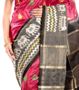 Ikkat silk sarees in dark pink