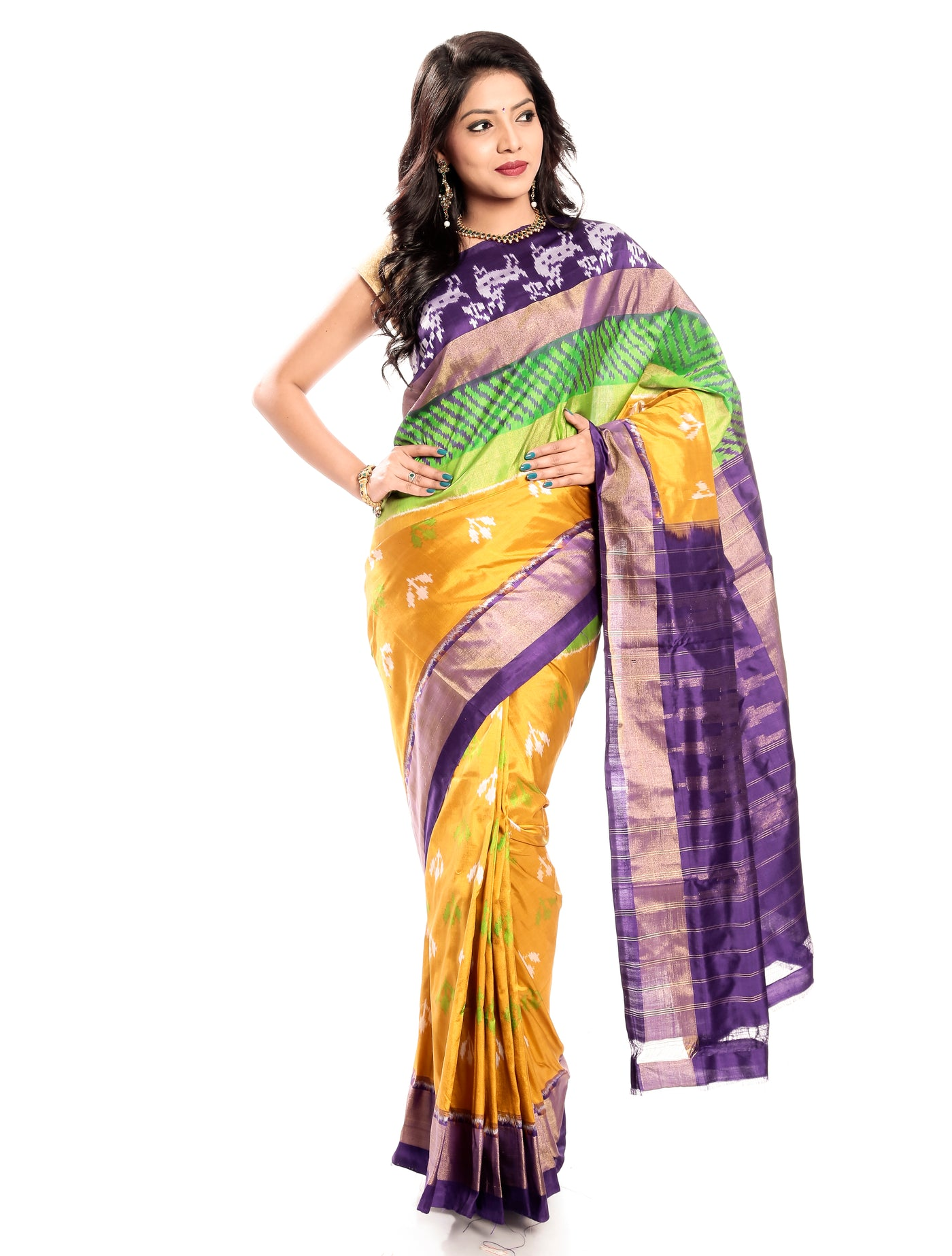 Pochampally Ikkat Silk Saree in Turmeric Yellow-Violet