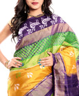 Pochampally Ikkat Silk Saree online in Turmeric Yellow-Violet