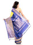 Yellow Pochampally Saree - Ikkat Silk Sarees with Blue Border