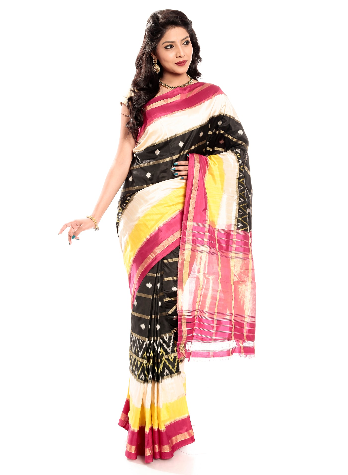 Cream & Yellow Black Ikkat Silk Saree
