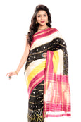 Ikkat Silk Saree in Cream & Yellow Black