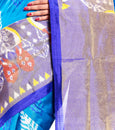 Blue color Pochampally silk saree USA