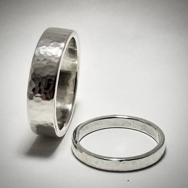 SilverChunk Flat Hammer Finished Sterling Silver Band