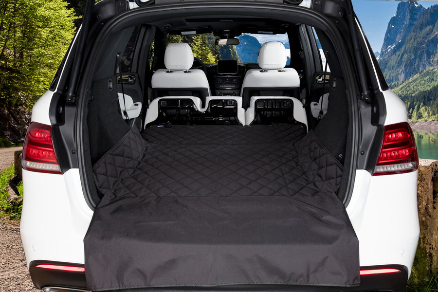 Luxury Pet Cargo Cover & Liner For Dogs - 80 x 52 Black, Quilted Waterproof Machine Washable & Nonslip Backing With Bumper Flap Protection- For Cars, Trucks & SUVs