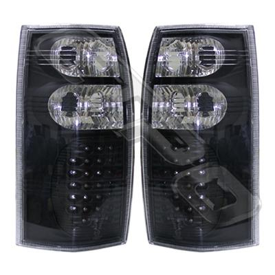 2816098-77PG-REAR LAMP - SET - L&R - LED STYLE - BLACK - HOLDEN COMMODORE VT/VX/VY/VZ UTE/WAGON