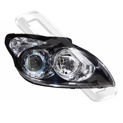 HEADLAMP - R/H - BLACK - ELECTRIC - TO SUIT HYUNDAI I30 2008-