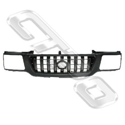 GRILLE - MAT/BLACK - W/CHROME FRAME - TO SUIT TOYOTA HILUX 2002-