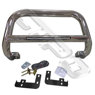 8128190-75-FRONT NUDGE BAR - WITH SINGLE LED BAR - POLISHED - TOYOTA HILUX 2005-15