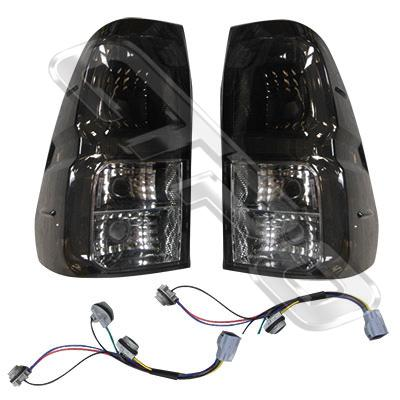 REAR LAMP SET - L&R - SMOKEY LENS - TO SUIT TOYOTA HILUX 2015-