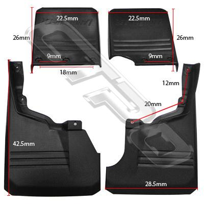 MUD FLAP - FRONT & REAR - 4 PCS SET - TO SUIT TOYOTA LANDCRUISER FJ70 2007-