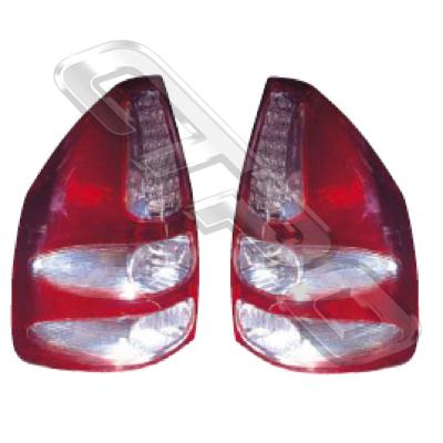 REAR LAMP - SET - L&R - LED - RED/CLEAR - TO SUIT TOYOTA PRADO KZJ120 2003-