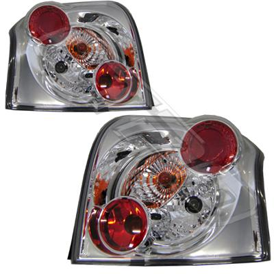 8179098-90PG-REAR LAMP - SET - L&R - CHROME - TOYOTA COROLLA ZZE 2002- HATCH