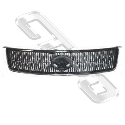 GRILLE - CHROME/BLACK - TO SUIT TOYOTA COROLLA 2007-  H/BACK