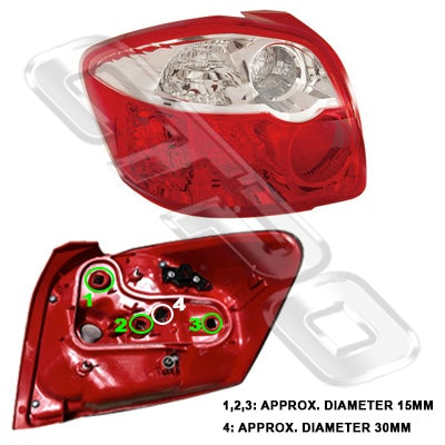 REAR LAMP - L/H - TO SUIT TOYOTA COROLLA 2010-  H/BACK