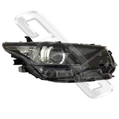 HEADLAMP - R/H - ELECTRIC - WITH LED - BLACK - TO SUIT TOYOTA COROLLA 2015- HATCH