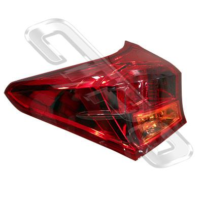 REAR LAMP - L/H - OUTER - LED - TO SUIT TOYOTA COROLLA 2012- HATCH