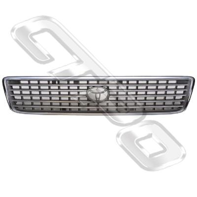GRILLE - CHROME/GREY - TO SUIT TOYOTA HIACE 1999- NZ TYPE