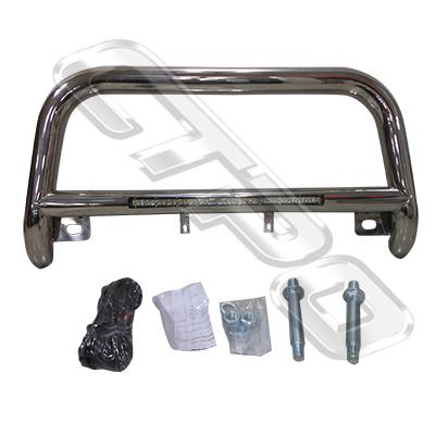 8194190-74-FRONT NUDGE BAR - WITH SINGLE LED BAR - POLISHED - TOYOTA HIACE 2004-17  NARROW