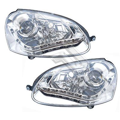 9524094-92PG-HEADLAMP SET - L&R - ELECTRIC - CHROME - WITH LED - VW GOLF MK5 2003-