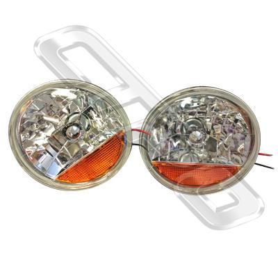 HEADLAMP SET - 2PCS - CRYSTAL/AMBER/CHROMED CAP