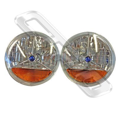 HEADLAMP SET - 2PCS - CRYSTAL/AMBER/BLUE CAP