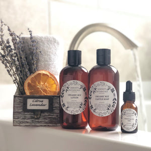 Gift Set Organic Lotion, Liquid Castile Soap & Essential Oil