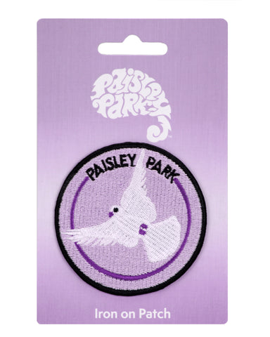 Paisley Park White Dove Round Iron-On Patch