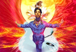 Prince with Influence Wall at Paisley Park