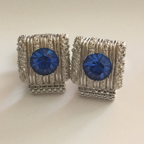 Vintage Cufflinks, Brilliant, Blue Stones, Wrap