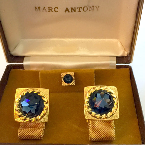 Vintage Cufflinks With Deep Blue Stones