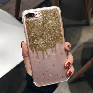 etui-iphone: Clear Gold Glitter