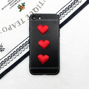 Leather Hearts Black