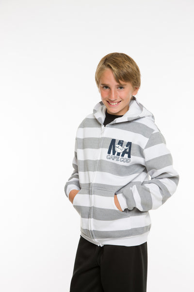 KIDS STRIPED HOODED FULLZIP SWEATSHIRT
