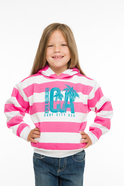KIDS STRIPED HOODED PULLOVER SWEATSHIRT
