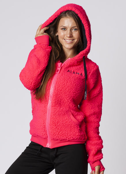 WOMENS HOODED FULLZIP FUZZY FLEECE