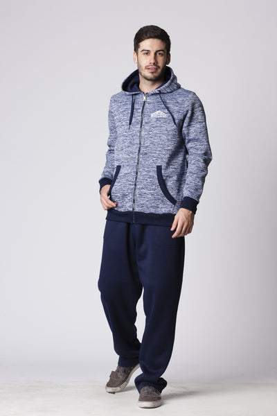 ADULTS MELANGE SWEAT FULLZIP HOODED
