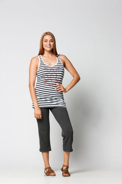 LADIES GARMENT-DYED STRIPE RACERBACK TANK