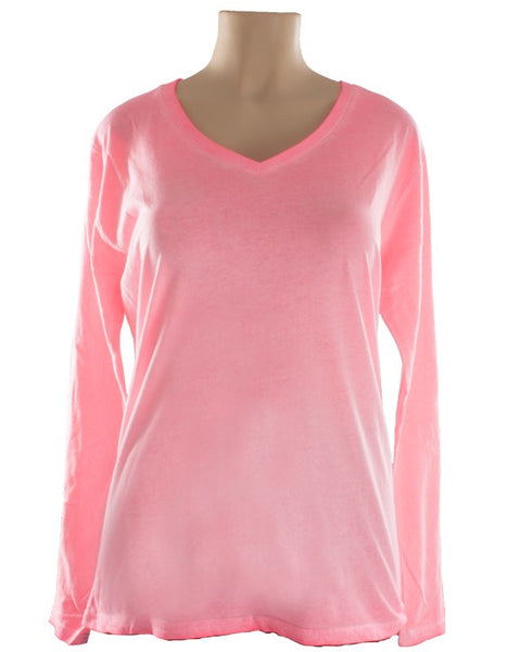WOMENS DIRTY WASH V-NECK LONG SLEEVE SHIRT