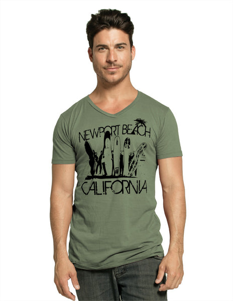 MENS GARMENT-DYED V-NECK SHORT SLEEVE T-SHIRT