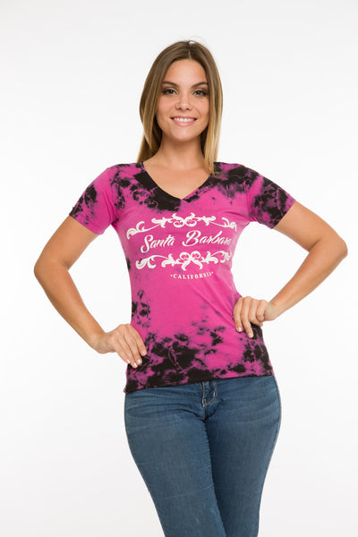 LADIES CRYSTAL DYE V-NECK T-SHIRT