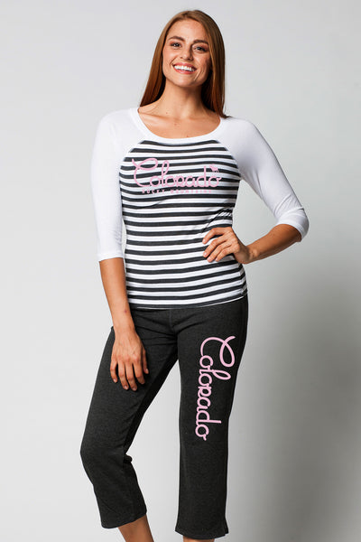 LADIES GARMENT-DYED RAGLAN STRIPE 3/4 SLEEVE CREWNECK